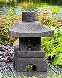 IDYL Lavastein Stein Laterne Oki Gata I | Höhe 40 cm | frostfest | Asiatische Gartendeko | massives Naturprodukt | Handarbeit | Wintergarten | Steinlaterne